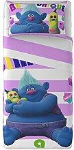 Trolls Biggie Bettwäsche/Tagesdecke, 100% Baumwolle, hellblau, für französisches Bett, 180x 280x 0.5cm