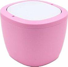 TROM Mülleimer Creative Desktop Mülleimer Mini Schreibtisch Küche Haushalt Wohnzimmer Schlafzimmer Mülleimer Größe 16,5 * 12 * 12,4Cm , Pink