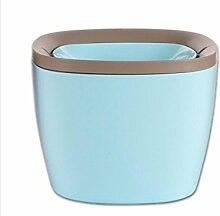 TROM Mülleimer Schütteln Cover-Stil Desktop Mülleimer Creative Schreibtisch Speicherfässer Auto Haushaltsküche Mini Mülleimer Größe 16,5 * 16 * 12,5Cm , Blue