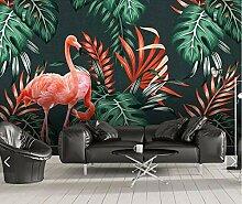 Tropenblatt Flamingo Tapete Fototapete für