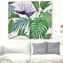 Tropisch Blätter Blumen Wandteppich Natur Pflanze