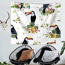 Tropisch Blumen Blätter Papagei Wandteppich