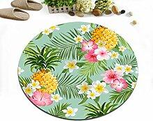 Tropische Pflanze Ananas Pflanze Blume weiß rosa gelb rutschfeste waschmaschinenfest Runde Bereich Teppich Wohnzimmer Schlafzimmer Bad Küche Soft Teppich Boden Matte Home Dekor,60x60 CM