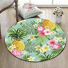 Tropische Pflanze Ananas Pflanze Blume weiß rosa gelb rutschfeste waschmaschinenfest Runde Bereich Teppich Wohnzimmer Schlafzimmer Bad Küche Soft Teppich Boden Matte Home Dekor,100x100 CM