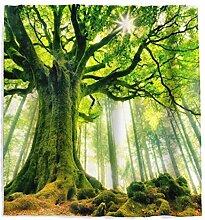Tropischer Bäume Grün Blätter Duschvorhang mit