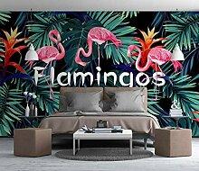 Tropisches Regenwaldbananenblatt-Flamingo-Tapete