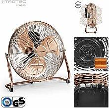 TROTEC TVM 13 Bodenventilator Kupfer Design Ventilator/ Windmaschine | 3 Geschwindigkeitsstufen | 70 Watt Leistung | Durchmesser 35 cm
