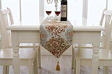 TRRE- Europäische Luxus Chenille Tischläufer TV Schrank / Kaffeetisch Tischdecke ( Farbe : Orange , größe : 28*210cm )