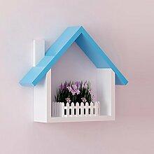 TRRE@ Kleines Haus Racks / Schlafzimmer Wand-Wand / TV-Wand / Kinderzimmer Wand-Rahmen / Schlafzimmer Wohnzimmer Wand-Regal / warmes Modehaus / drei Farben Optionales Regal / (30 * 10 * 36cm) Regale ( Farbe : Blau )