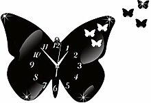 TRRE-Kreative DIY Dekoration Uhr Schmetterling Spiegel Quarzuhr mute Uhr