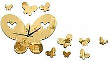 TRRE-Kreative DIY Wanduhr Spiegel Uhr Der Schmetterling Wanduhr Spiegel Stick Stockuhr