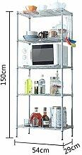 TRRE@ Küche Regal Metall Boden Lagerung Regal Fünf Bad Bad Sanitär Ware Lagerung Regal Küchenregale ( Farbe : Silber )