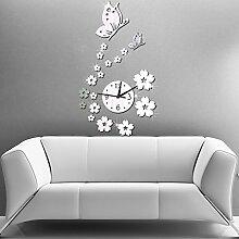 TRRE-Spiegel Uhr Wanduhr Mode und Persönlichkeit Das Wohnzimmer Stereo Schmetterling Wanduhr