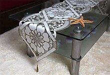 TRRE- Tischläufer Stoff TV-Schrank Kaffeetischtuch Tischtuch Handtuch durchbrochene Stickerei hellgrau Tischläufer ( größe : 40*310cm )