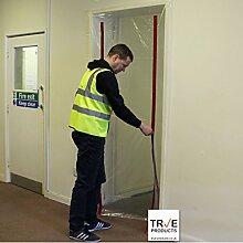 True Products b5017C2Staub Stop Tür vormontiert 2Zip Tür KIT mit Rot Reißverschluss, transparen
