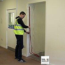True Products b5017cl Staub Stop Tür vormontiert L ZIP Tür KIT mit Rot Reißverschluss, transparen