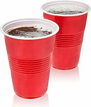 True Red Party Cups Partybecher, Kunststoff, rot,