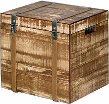 Truhe Eukalyptus 46x50x42cm Shabby massiv Massivholz Hartholz Kiste