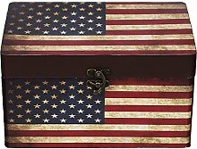 Truhe Kiste 11A6028 USA, Holztruhe mit Canvas