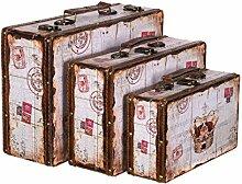 Truhe Kiste KD 1289 Koffer , Kofferset , Holztruhe mit edlem Leder bezogen im Vintage Look, Schatzkiste,Kiste, Piratenkiste, Kleinmöbel, Mit Metallbeschlägen, Antikoptik, Holz, verschieden Größen, Maritim, Deko, Hochwertig, Kolonialtruhe, Kolonialstil, Holzbox, Truhe mit Ornamenten (SET Größe M + L + XL)