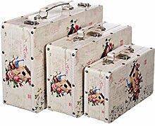 Truhe Kiste KD 1517 Koffer , Kofferset , Holztruhe mit edlem glattem Kunstleder bezogen im Vintage Look, Schatzkiste,Kiste, Kleinmöbel, Mit Metallbeschlägen, verschieden Größen, Deko, Hochwertig, Kolonialtruhe, Kolonialstil, Truhe mit Ornamenten (SET Größe M + L + XL)