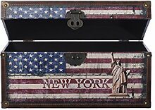 Truhe Kiste KD062 USA, Holztruhe mit Canvas