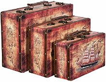 Truhe Kiste SJ 1280 Koffer , Kofferset , Holztruhe mit edlem Leder bezogen im Vintage Look, Schatzkiste,Kiste, Piratenkiste, Kleinmöbel, Mit Metallbeschlägen, Antikoptik, Holz, verschieden Größen, Maritim, Deko, Hochwertig, Kolonialtruhe, Kolonialstil, Holzbox, Truhe mit Ornamenten (SET Größe M + L + XL)