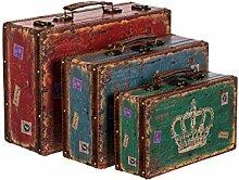 Truhe Kiste SJ 1287 Koffer , Kofferset , Holztruhe mit edlem Leder bezogen im Vintage Look, Schatzkiste,Kiste, Piratenkiste, Kleinmöbel, Mit Metallbeschlägen, Antikoptik, Holz, verschieden Größen, Maritim, Deko, Hochwertig, Kolonialtruhe, Kolonialstil, Holzbox, Truhe mit Ornamenten . (SET Größe M + L + XL)