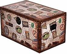 Truhe Kiste SJ 15325 Reisekofferoptik, Holztruhe Weltreise, Schatzkiste,Kiste, Piratenkiste, Kleinmöbel verschieden Größen, Maritim, Deko Kolonialtruhe,Holzbox (Größe L 49cm B x28cm Hx25 cmT)