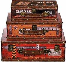 Truhe Kiste SJ 15369 Koffer , Kofferset , Holztruhe mit Leder bezogen im Vintage Look, Schatzkiste,Kiste, Piratenkiste, Kleinmöbel, Mit Metallbeschlägen, Antikoptik, Holz, verschieden Größen, Maritim, Deko, Hochwertig, Kolonialtruhe, Kolonialstil, Holzbox, Truhe mit Ornamenten . (SET Größe M + L + XL)
