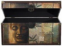 Truhe Kiste SJ12295 Buddha Kiste , Holztruhe mit hochwertigem Canvas bezogen im Vintage Look, Schatzkiste,Kiste, Piratenkiste, Kleinmöbel, Mit Metallbeschlägen, Antikoptik, Holz, verschieden Größen, Maritim, Deko, Hochwertig, Kolonialtruhe, Kolonialstil, Holzbox, Truhe mit Ornamenten . (Größe XL 49cm x 28cm x 25cm)