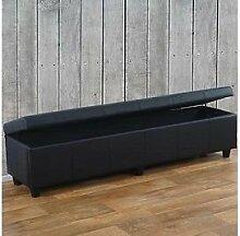 Truhe schwarz matt 180cm Kunstleder Truhenbank Aufbetrueungstruhe Aufbetrueung