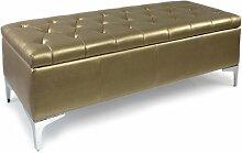 TRUHE SITZTRUHE WÄSCHETRUHE SITZBANK SCHATZTRUHE SCHATZKISTE KISTE BOX KASTEN LANG (BxTxH) 118/43/42 Farbe GOLD