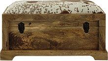 Truhenbank aus Mangoholz aus Kuhfell