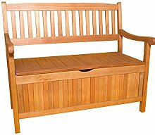 Truhenbank Gartenbank 3-Sitzer aus Eukalyptus