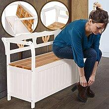 Truhenbank Weiß aus Holz | 112x39x73 cm mit