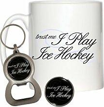 Trust Me I Play Ice Hockey 284ml Becher, Pin