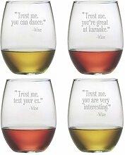 Trust Me ohne Stiel Wein Glas (Set von 4)