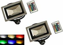 Trustdeal 10W Grau RGB Licht Wasserdichter Scheinwerfer LED Flutlicht Außenleuchte Mit Fernbedienung (2 × 10W A)