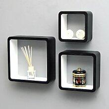 TS-Ideen 5732Set von 3Design Wandregale Retró 70er Cube Wandregal Design, MDF, weiß/schwarz