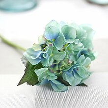 TS-nslixuan Hortensie Hortensie Blumen Tabelle Simulation Seide kurze Zweig Single Hortensie Hortensie Heimtextilien blumen Hochzeit Dekoration, Blau-10 Niederlassung