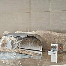 TSAR003 Modern 3-Loch-Armatur Wasserfall With Keramisches Ventil Zwei Griffe Drei Löcher For Chrom , Waschbecken Wasserhahn