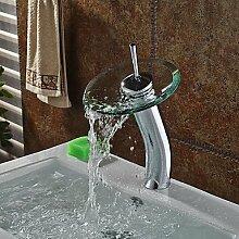 TSAR003 Zeitgenössisch Becken Wasserfall With Messingventil Einhand Ein Loch For Chrom , Badewannenarmaturen / Armatur Für Die Küche /