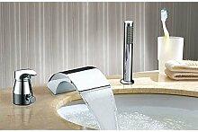 TSAR003 Zeitgenössisch Rustikal Modern 3-Loch-Armatur Wasserfall With Keramisches Ventil Einhand Drei Löcher For Chrom , Waschbecken Wasserhahn