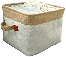 TSHOME Natürliche Baumwolle & Leinen Stoff Lagerung Körbe Organizer für Kleidung Bücher Spielzeug Bettwäsche Faltbare Desktop Regal Bins Boxen (L: 35*30*26cm)