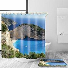 TSJT 3D-Duschvorhang und Badematte Set Polyester-Gewebe Meer Landschaft Muster wasserdicht Mildewproof Badezimmer Dekoration mit 12 Plastikhaken Multi Size , @1 , 150 x 180 cm