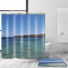 TSJT 3D-Duschvorhang und Badematte Set Polyester-Gewebe Meer Landschaft Muster wasserdicht Mildewproof Badezimmer Dekoration mit 12 Plastikhaken Multi Size , @2 , 180 x 180 cm