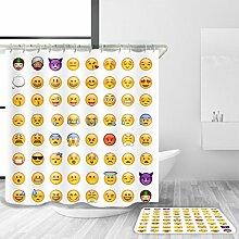 TSJT Bad Zubehör Duschvorhang Badematte Set Wasserdicht Mildewproof Polyester Stoff Nette Emoticons Design Duschvorhang Set Bad Dekoration mit 12 Kunststoff Haken Multi Size , @3 , 120 x 180 cm