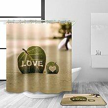 TSJT Bad Zubehör Duschvorhang und Badematte Set 3D Digitaldruck Polyester Material wasserdicht Mildewproof Modern Style Bad Dekoration mit 12 Kunststoff Haken Multi Size , 150 x 200 cm