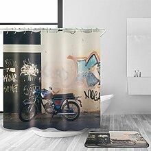 TSJT Bad Zubehör Duschvorhang und Badematte Set Polyester Mildewproof Wasserdicht Modern Motorrad Muster Multi Size Bad Dekor mit 12 Kunststoff Haken , @2 , 165 x 180 cm